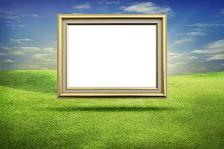 holiday picture: gold frame grass sky