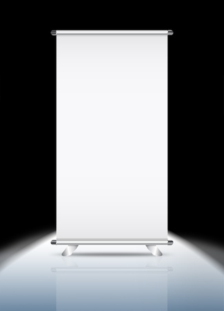 Blank roll-up banner against a black background photo