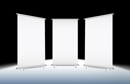 3 Blank roll-up banner against a black background with paths Stock Photo