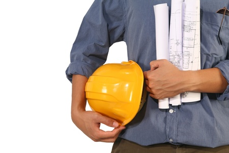 Closeup of builder with yellow helmet  on white background