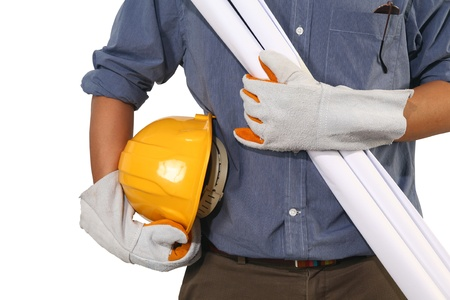 Closeup of builder with yellow helmet  on white background  photo