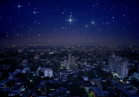 sky of stars: city at night with stars in the sky  Stock Photo