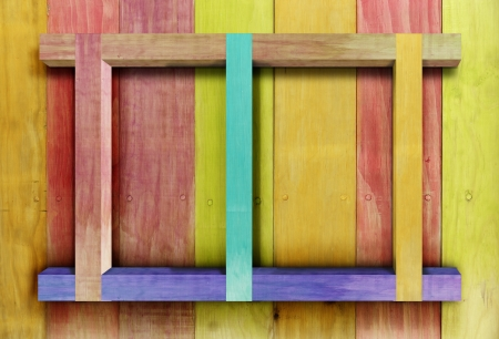 colors Vintage wooden shelf .  photo
