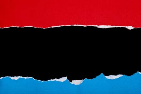 red andblue Torn Paper frame on dark background  photo