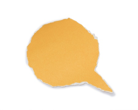 yellow paper tear bubble shape on white background.  photo