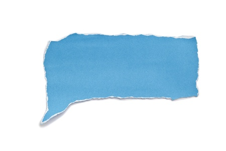 blue paper tear bubble shape on white  background.  photo