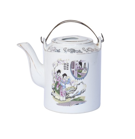 chinese tea pot: Decorative chinese tea pot on white  Editorial