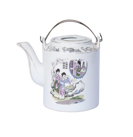 chinese tea pot: Maceta decorativa t� chino sobre fondo blanco