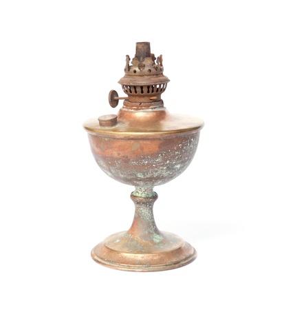 Old brassy lantern on white  photo