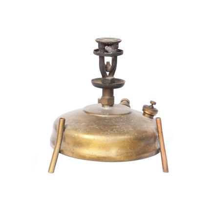 antique  camping stove on white background   photo