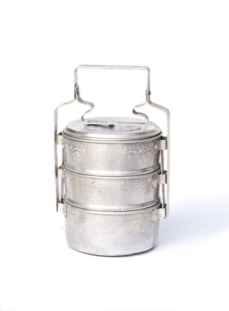 tiffin: Metal Tiffin, Food Container On White Background