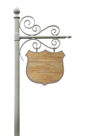 Metal Sign on street pole. Isolated on white  photo
