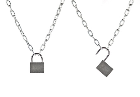 Lock and chain isolated on white background  Stock Photo - 14049244