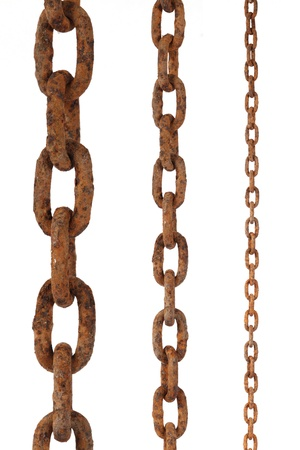 chain linked: tree rusty chains, over a white background  Stock Photo