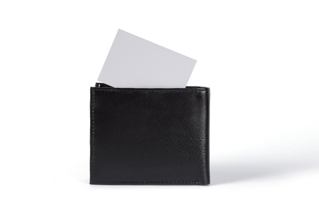 wallet with a blank business card.   photo