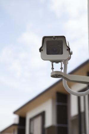 Câmera de segurança CCTV em casa. Banco de Imagens