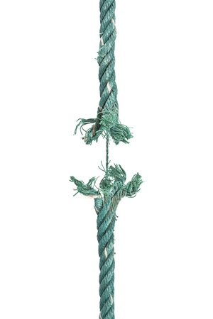 severance: Fractura de la cuerda. Aislado en blanco. Foto de archivo