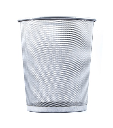 Empty wire metal bin on white background   photo