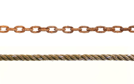 old ropes and chains on white background.  photo