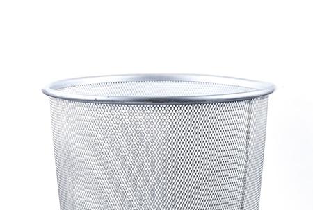 close up Empty wire metal bin on white background   photo