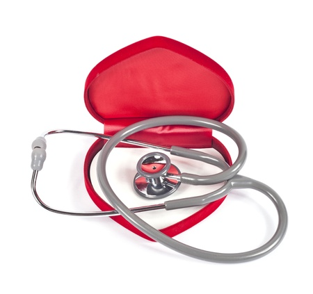 stethoscope and velvet heart on white. Stock Photo - 14388933