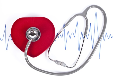 heart ecg trace: Stethoscope and ECG over a stylized hearth.