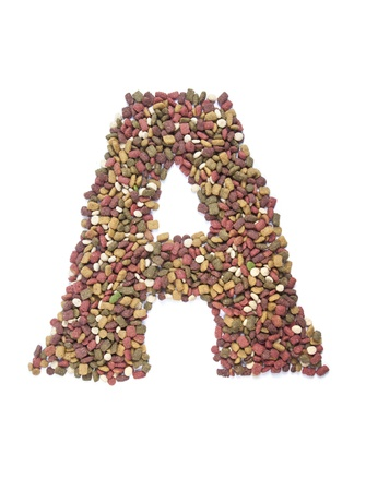 dry animal food, Letter a on white  photo