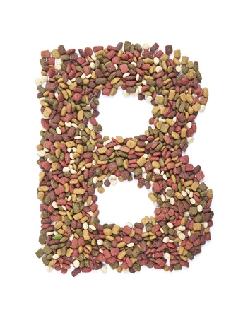 dry animal food, Letter b on white  photo