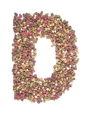 dry animal food, Letter d on white  photo