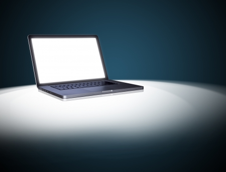empty Laptop on dark background.