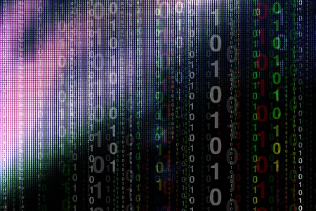 Abstract binary code on led background Stock Photo - 14831735