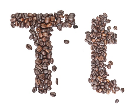 T, Alphabet from coffee beans on white background. photo