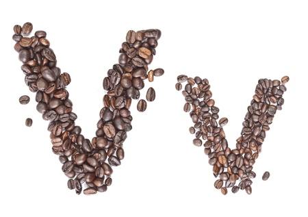 v alphabet: V, Alphabet from coffee beans on white background.