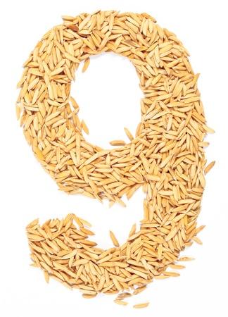 numero nueve: 9, número, alfabeto, carta de arroz con cáscara en blanco