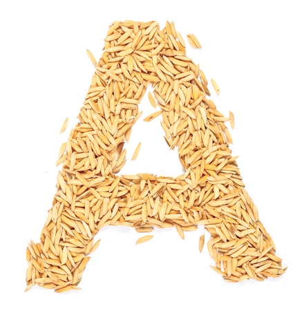 a, alphabet,Letter from Paddy rice on white  photo