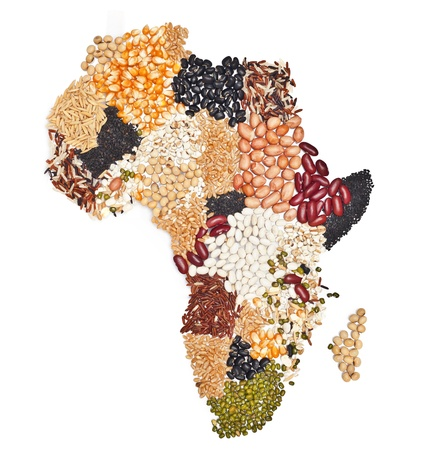 spice market: africa map food on white background.   Stock Photo