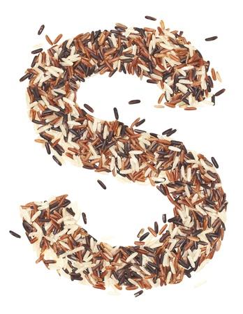 s alphabet: s, Alphabet from Organic Whole grain Rice