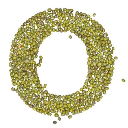 alphabet form green beans on white. Stock Photo - 15287601