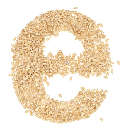 ides: e, Alphabet from dry wheat berries.  Stock Photo