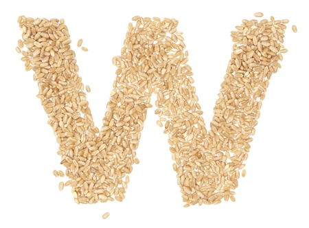 ides: w, Alphabet from dry wheat berries.  Stock Photo