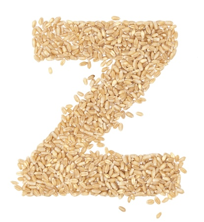 ides: z, Alphabet from dry wheat berries.