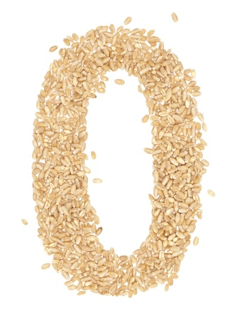 9 number,from wheat berries. on white.  photo
