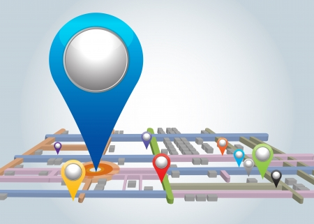 map pin: City map with  blue Pointers.