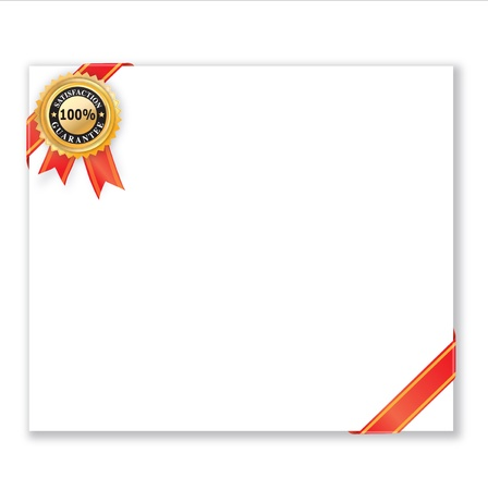 money back:  Satisfaction Guarantee Label on white card.  Stock Photo