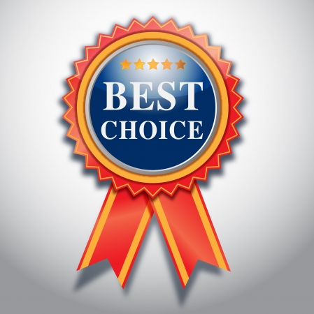victory sign: best choice label sign illustration.