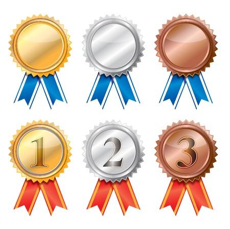 3d em branco de ouro, prata e fitas Bronze Award.