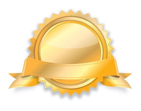 golden ribbon:  Blank golden award medal with ribbon  Stock Photo