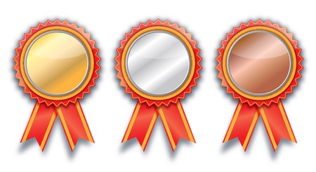 blank Gold, silver and bronze award ribbons on white photo