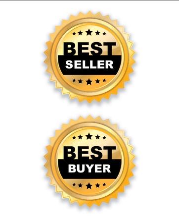 best seller:  golden Label Best seller-buyer on white.