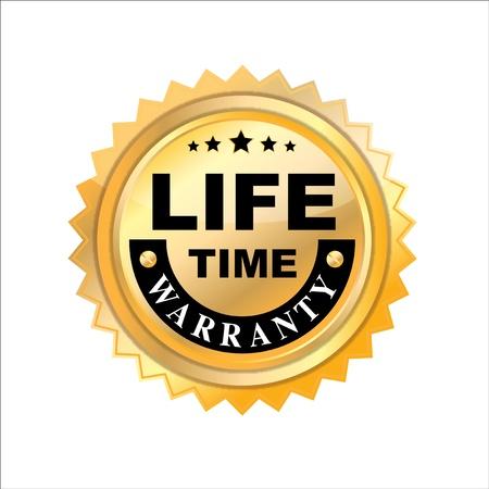 lifetime:  Lifetime warranty on white  background  Stock Photo